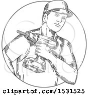 Poster, Art Print Of Sketched Handyman Holding A Cordless Drill