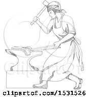 Clipart Of A Sketched Female Blacksmith Forging Metal Royalty Free Vector Illustration