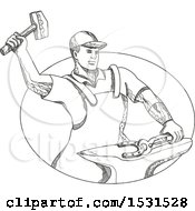 Clipart Of A Sketched Farfier Striking A Horseshoe With A Hammer On An Anvil Royalty Free Vector Illustration