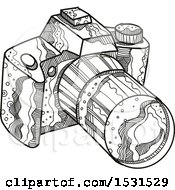 Clipart Of A Sketched DSLR Camera Royalty Free Vector Illustration