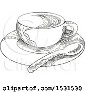 Clipart Of A Sketched Coffee Cup On A Saucer With A Spoon Royalty Free Vector Illustration