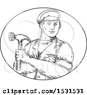 Poster, Art Print Of Sketched Handyman Or Carpenter Holding A Hammer