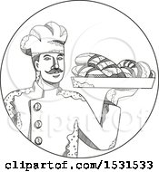 Sketched Baker Pastry Chef Holding A Plate Of Bread In A Circle