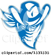 Clipart Of A Cowboy Outlaw In A Blue And White Bandana With A Gray Outline Royalty Free Vector Illustration by patrimonio