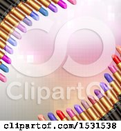 Clipart Of A Pink Pixel Background With Borders Of Lipstick Tubes Royalty Free Vector Illustration