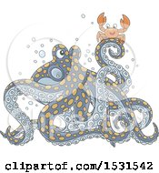 Clipart Of A Crab On An Octopus Royalty Free Vector Illustration
