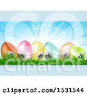 Panel Of 3d Colorful Numbered Bingo Or Lottery Easter Eggs In Grass