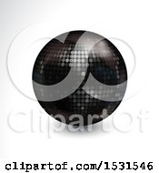 Poster, Art Print Of 3d Black Disco Ball On A Shaded White Background