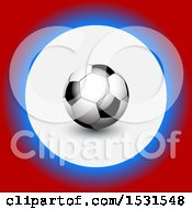 3d Soccer Ball In A Circle Of White Blue And Red