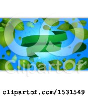 February 23rd, 2018: Clipart Of A Green Ribbon Banner Over A Sunny Blue Sky With Spring Leaves And Text With White Panels Royalty Free Vector Illustration by elaineitalia
