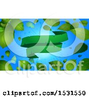 Clipart Of A Green Ribbon Banner Over A Sunny Blue Sky With Spring Leaves Royalty Free Vector Illustration