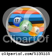 Clipart Of A Circle Frame Around 3d Bingo Balls And Stripes On A Black Background Royalty Free Vector Illustration