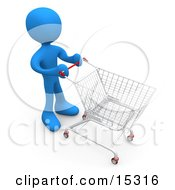 Blue Person Standing In A Store With A Shopping Cart