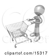 Gold Person Standing With An Empty Shopping Cart In A Store Clipart Illustration Image