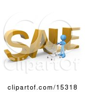 Blue Person Pushing A Shopping Cart By A Large Golden Sale Sign In A Store