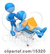 Blue Person Pushing Another Person Who Is Holding A Cube And Riding In A Shopping Cart In A Store