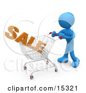 Blue Person Pushing A Shopping Cart In A Store With The Word Sale In It