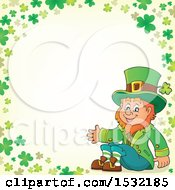 Clipart Of A St Patricks Day Leprechaun In A Green Shamrock Border Royalty Free Vector Illustration by visekart