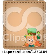 Clipart Of A Blank Parchment Page With A St Patricks Day Female Leprechaun Royalty Free Vector Illustration