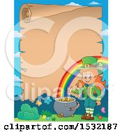 Clipart Of A Border Of A Female Leprechaun And Rainbow With A Blank St Patricks Day Scroll Royalty Free Vector Illustration