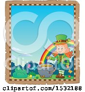 Clipart Of A Border Of A St Patricks Day Female Leprechaun With A Pot Of Gold At The End Of A Rainbow Royalty Free Vector Illustration by visekart