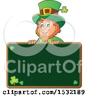 Clipart Of A St Patricks Day Leprechaun Over A Chalkboard Royalty Free Vector Illustration
