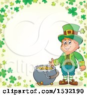 Clipart Of A St Patricks Day Leprechaun With A Pot Of Gold In A Green Shamrock Border Royalty Free Vector Illustration by visekart