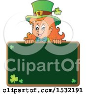 Clipart Of A St Patricks Day Female Leprechaun Over A Blank Chalkboard Royalty Free Vector Illustration