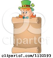Clipart Of A Female Leprechaun Over A Blank St Patricks Day Scroll Royalty Free Vector Illustration