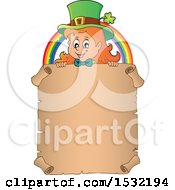 Clipart Of A Female Leprechaun And Rainbow Over A Blank St Patricks Day Scroll Royalty Free Vector Illustration