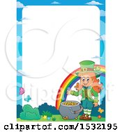 Border Of A St Patricks Day Female Leprechaun With A Pot Of Gold At The End Of A Rainbow