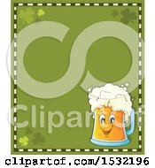Clipart Of A St Patricks Day Border With Shamrocks And A Beer Character Royalty Free Vector Illustration