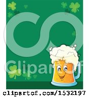 Clipart Of A St Patricks Day Border With Shamrocks And A Beer Character Royalty Free Vector Illustration by visekart