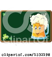 Clipart Of A St Patricks Day Beer Character On A Chalkboard Royalty Free Vector Illustration