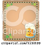 Clipart Of A St Patricks Day Parchment Border With Shamrocks And A Beer Character Royalty Free Vector Illustration