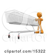 Orange Person Pushing A Super Long Shopping Cart In A Store While Planning To Purchase A Lot
