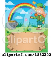 Clipart Of A Female Leprechaun Pot Of Gold And Rainbow Over A Blank St Patricks Day Scroll Royalty Free Vector Illustration