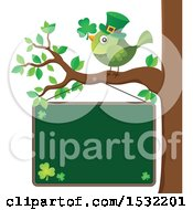 Clipart Of A Green St Patricks Day Bird On A Branch Over A Chalkboard Royalty Free Vector Illustration