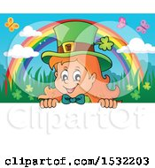 Clipart Of A St Patricks Day Female Leprechaun Looking Over A Sign With A Rainbow And Butterflies Royalty Free Vector Illustration