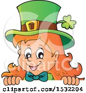 Clipart Of A St Patricks Day Female Leprechaun Looking Over A Sign Royalty Free Vector Illustration