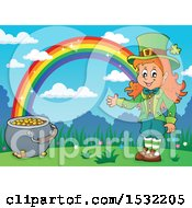 Clipart Of A St Patricks Day Female Leprechaun With A Pot Of Gold At The End Of A Rainbow Royalty Free Vector Illustration by visekart
