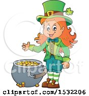 Clipart Of A St Patricks Day Female Leprechaun With A Pot Of Gold Royalty Free Vector Illustration