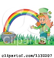 Clipart Of A St Patricks Day Female Leprechaun With A Pot Of Gold At The End Of A Rainbow Royalty Free Vector Illustration