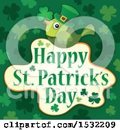 Clipart Of A Happy St Patricks Day Greeting With A Green Bird Royalty Free Vector Illustration by visekart