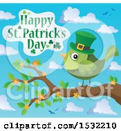 Clipart Of A Happy St Patricks Day Greeting With A Green Bird Royalty Free Vector Illustration