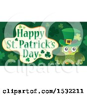 Clipart Of A Green Owl With A Happy St Patricks Day Greeting Royalty Free Vector Illustration
