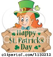 Clipart Of A Female Leprechaun Over A Scroll With A Happy St Patricks Day Greeting Royalty Free Vector Illustration by visekart