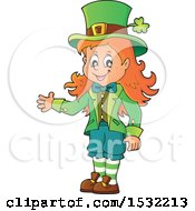 Clipart Of A St Patricks Day Female Leprechaun Presenting Royalty Free Vector Illustration