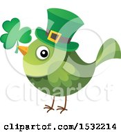 Clipart Of A Green St Patricks Day Bird With A Clover And Top Hat Royalty Free Vector Illustration by visekart