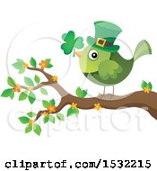 Clipart Of A Green St Patricks Day Bird With A Clover And Top Hat On A Branch Royalty Free Vector Illustration